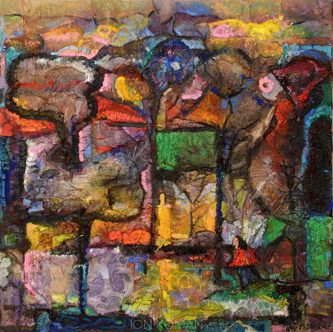 Alberi-e-case-2000-tecnica-mista-su-tela-70x70