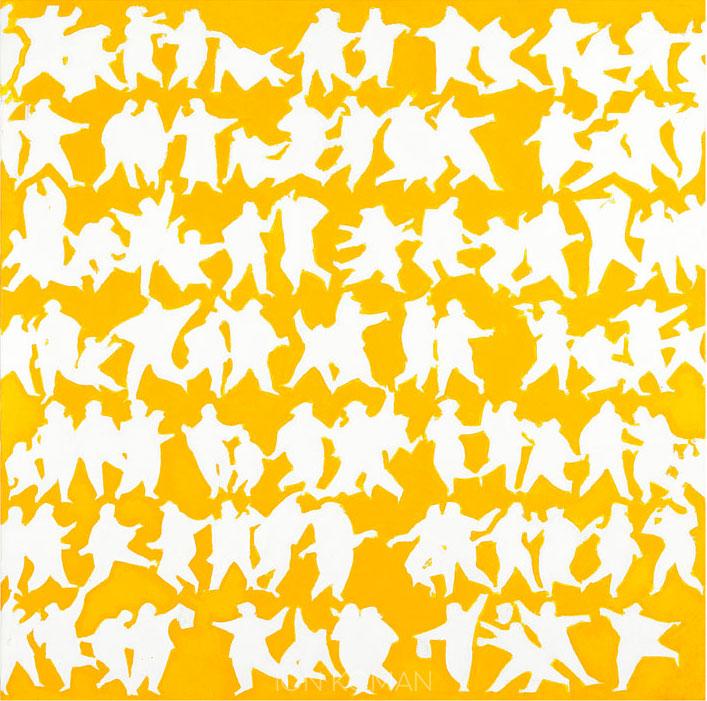 Figure-solari-su-fondo-giallo-2010-acrilico-su-tela--cm-70x70