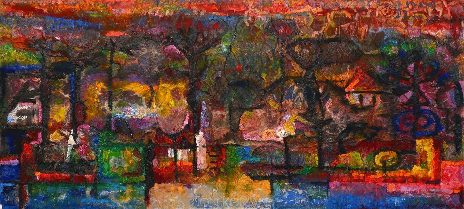 Lungo-il-fiume-2003-tecnica-mista-su-tela-40x100