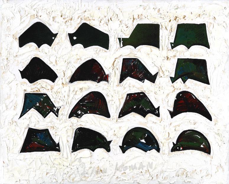 Tori-neri-sul-campo,-1994-olio-su-tela-40x50