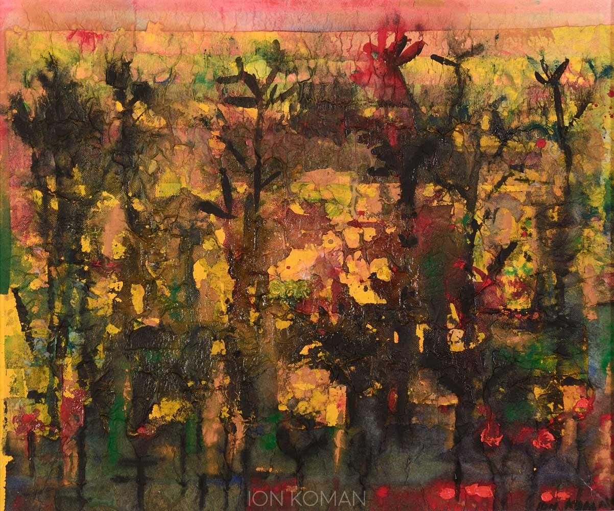 Alberi-su-campo-giallo-2007-tecnica-mista-su-tela-50x70